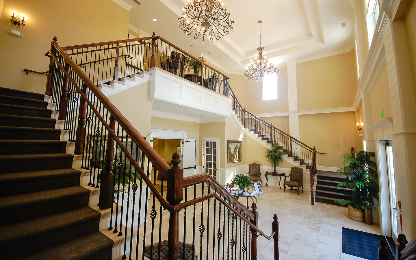 Meritage staircase from the first floor to the third floor
